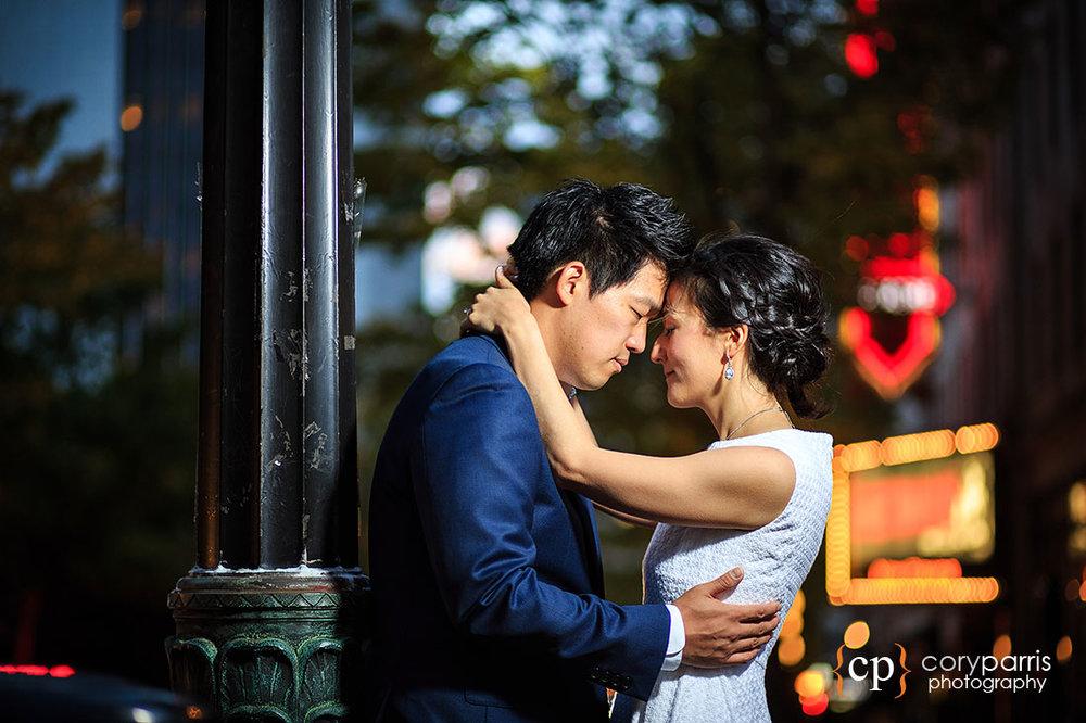 Seattle night wedding portrait