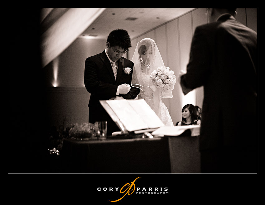 bride and groom during wedding ceremony at the seattle sheraton