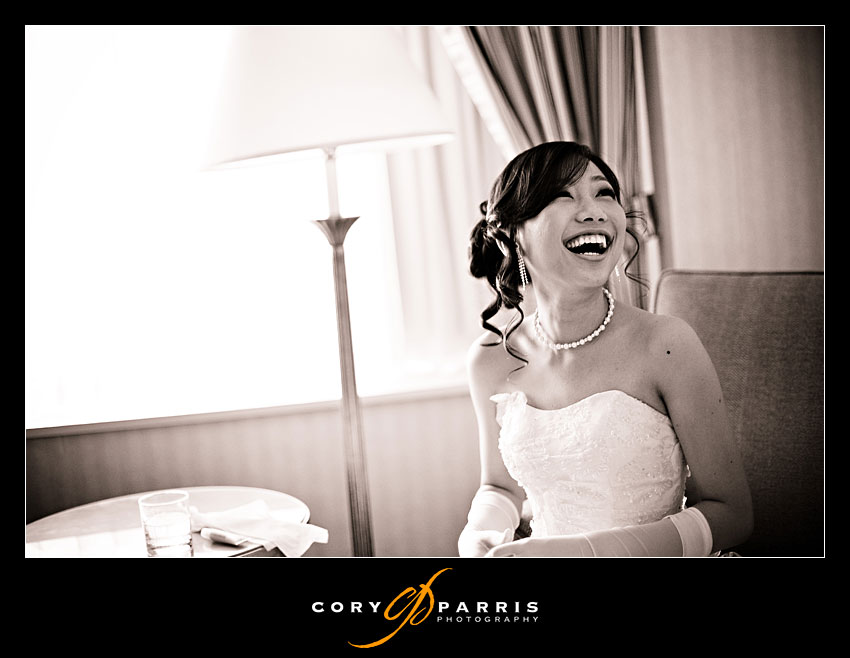 happy bride after wedding ceremony at seattle sheraton