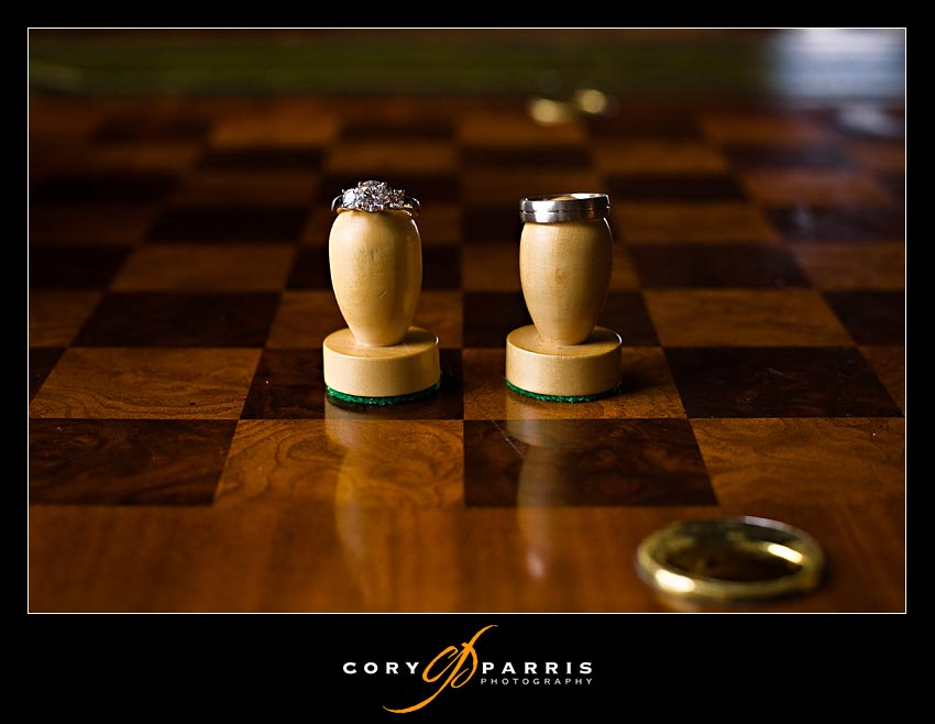 Wedding rings and chess board