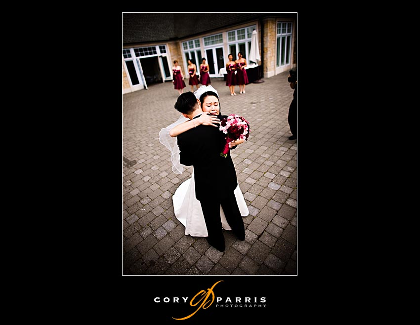 Bride and groom meet at the courtyard at Newcastle