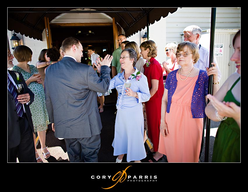 Groom and Mom high-five