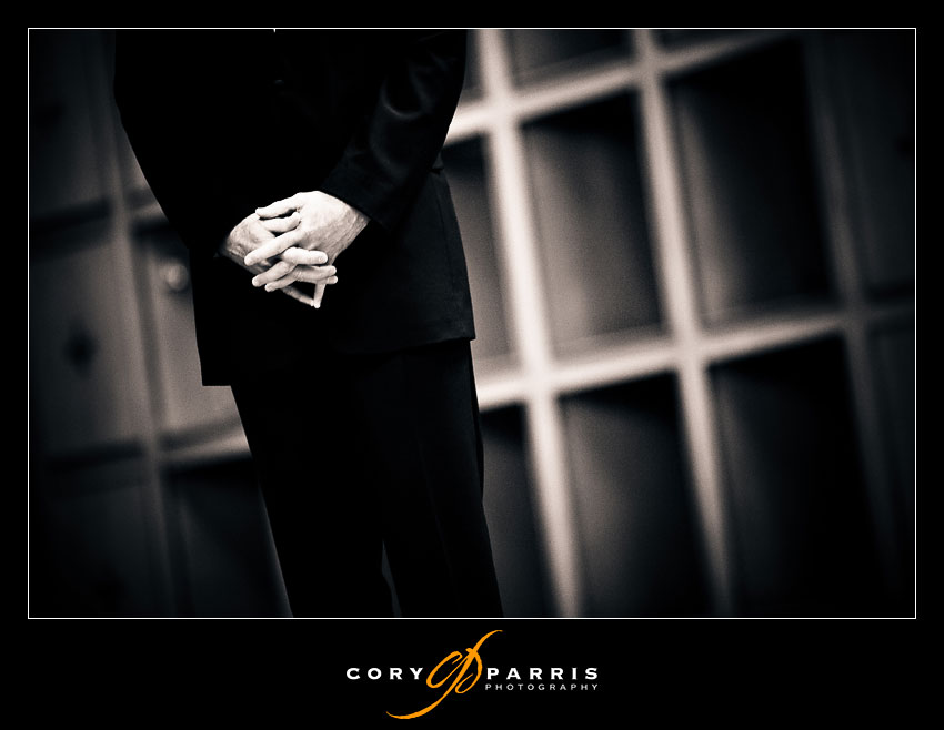 groom's nervous hands