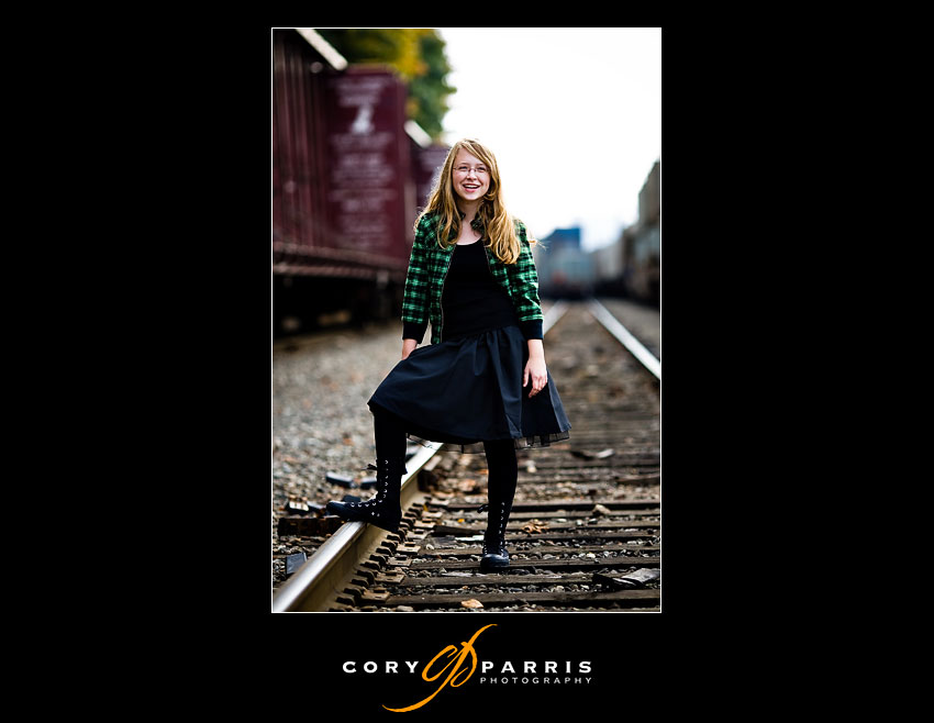 Alyssa on the train tracks