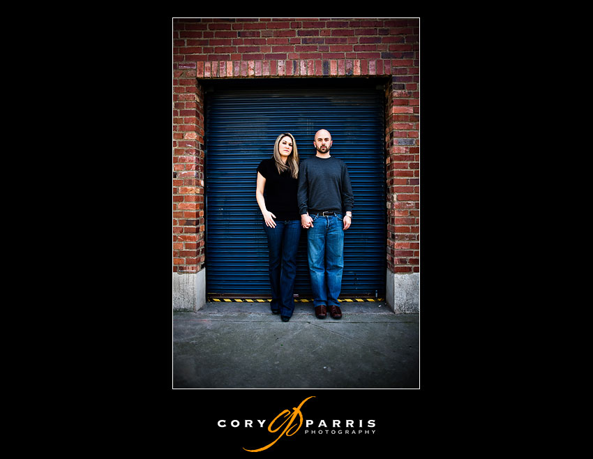couple by blue door