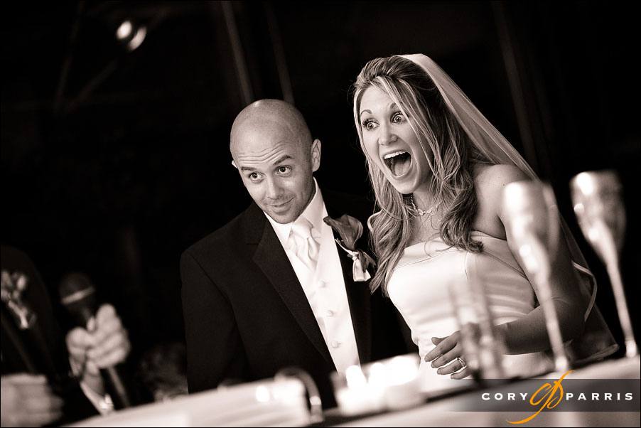 bride and groom react to best man speech at shilshole bay beach club