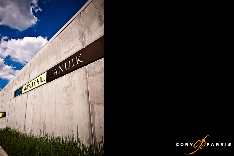 sign on the front of the novelty hill januik winery by seattle wedding photographer cory parris