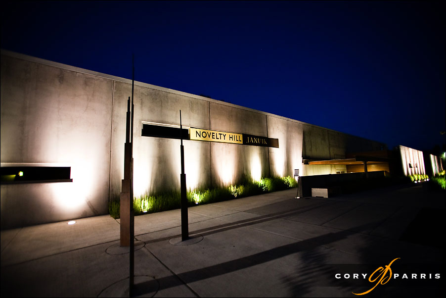 night view of the outside of the novelty hill januik winery by seattle wedding photographer cory parris