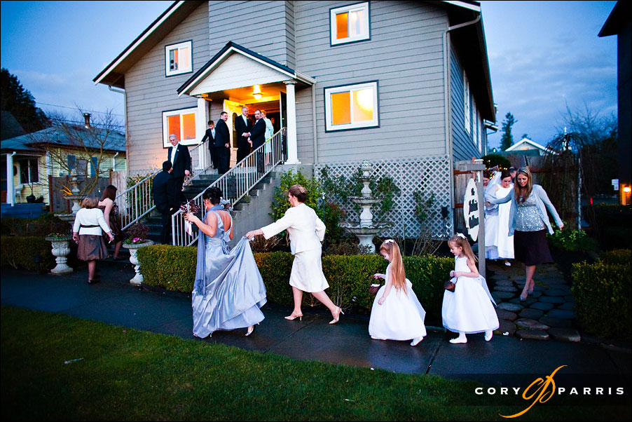 The bridal party lining up before the start of the wedding outside the Antheia Ballroom