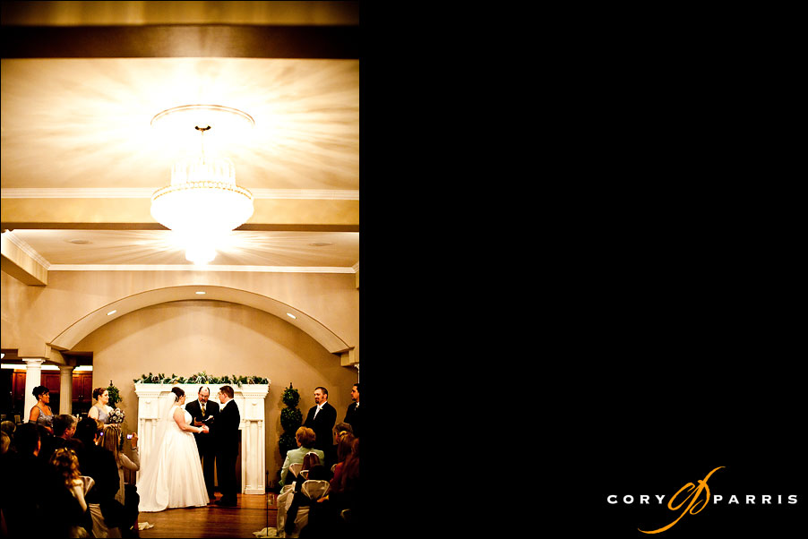 bride and groom during the ceremony at the antheia ballroom in snohomish