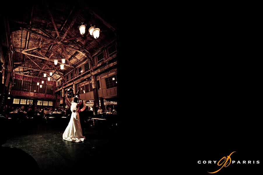first dance at sodo park by seattle wedding photographer cory parris