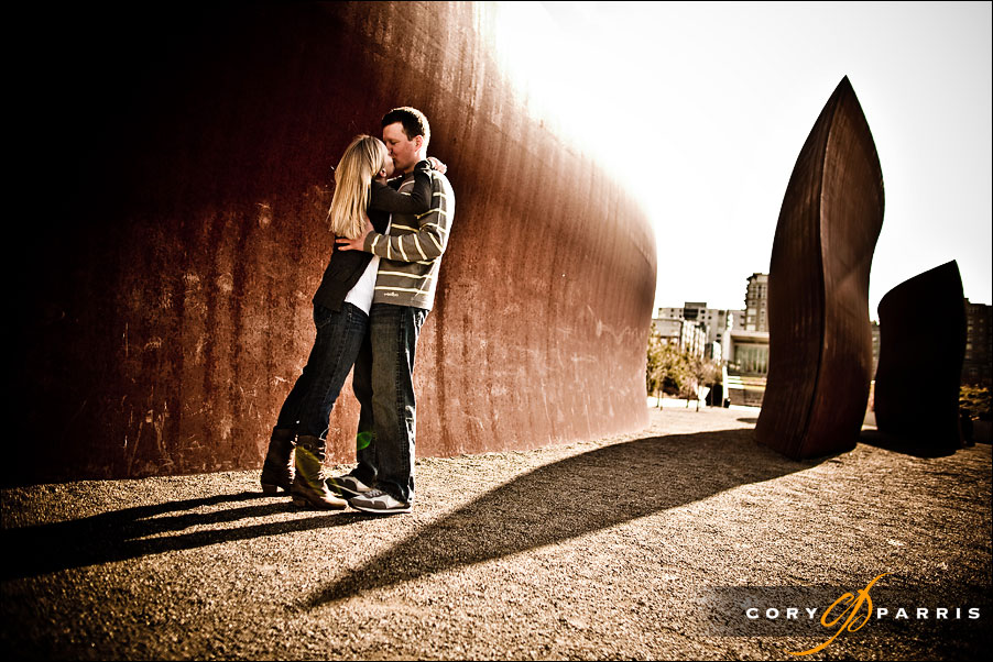 engagement portrait at the olympic sculpture park by seattle wedding photographer cory parris