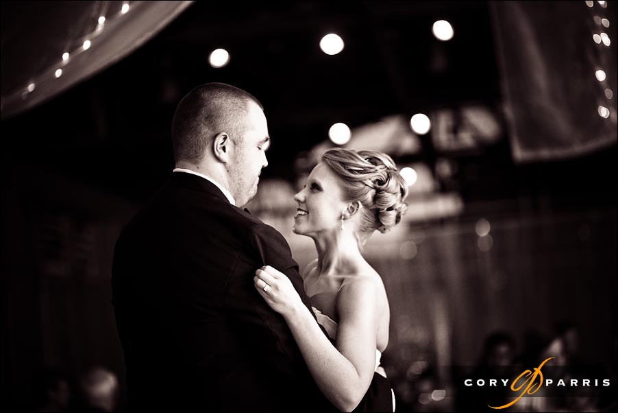bride and groom during first dance by seattle wedding photographer cory parris