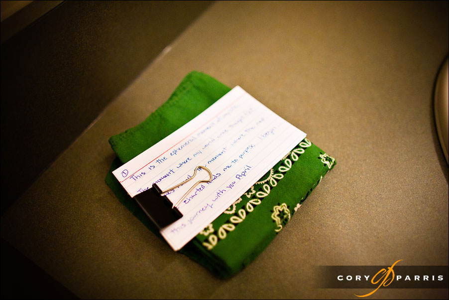 groom's vows with a green hankerchief