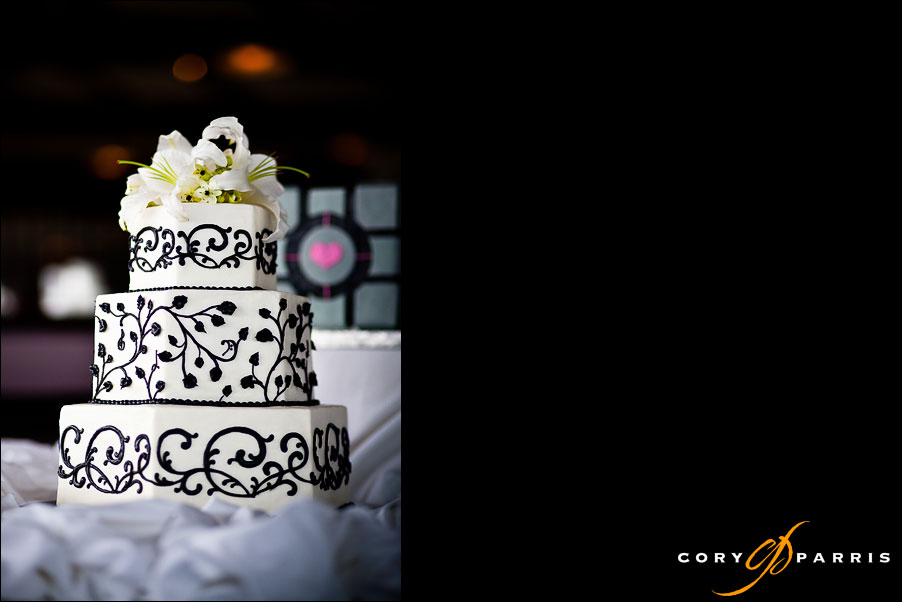 wedding cake in the window light of semiahmoo resort by seattle wedding photographer cory parris