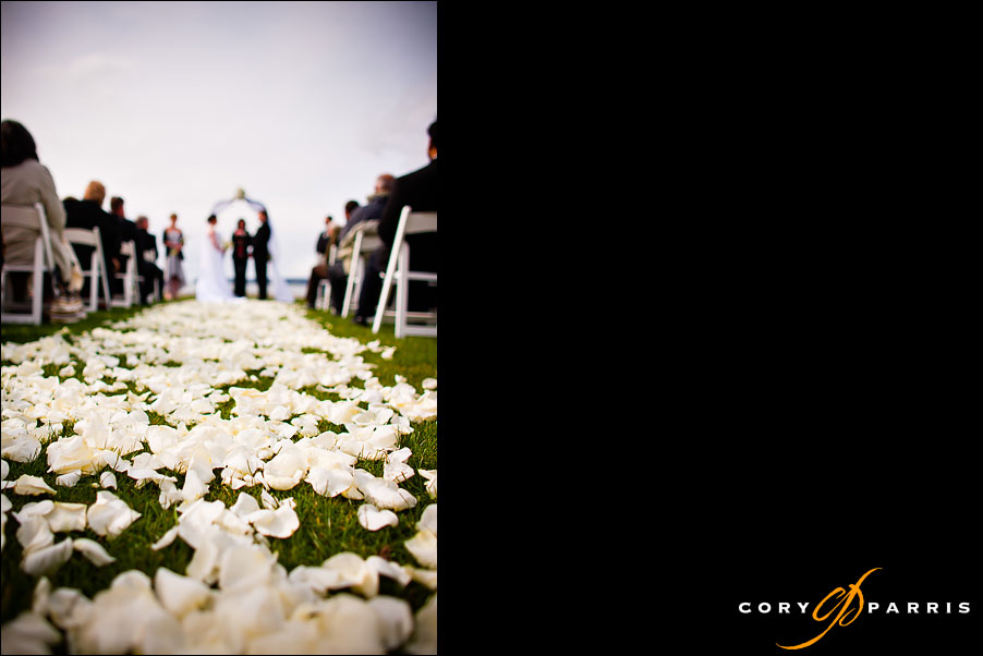 wedding rose petal carpet on the grass at Semiahmoo