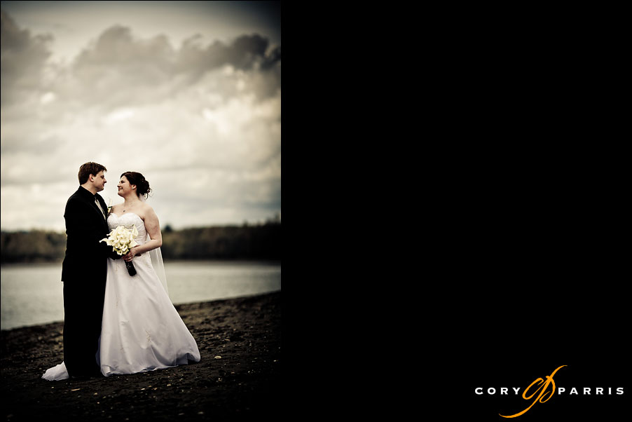 wedding couple on the beach at Semiahmoo by seattle wedding photographer cory parris