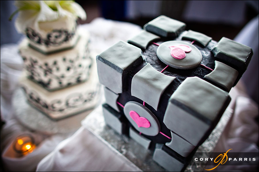 Scott's Groom cake is in the shape of a Companion Cube from the video game Portal