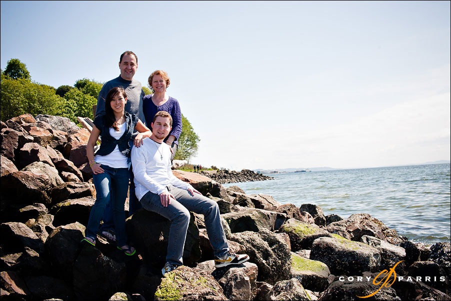 family portrait on the beach at edmonds marina park