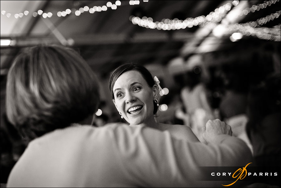 bride talking to a guest at the pickering barn in issaquah wedding