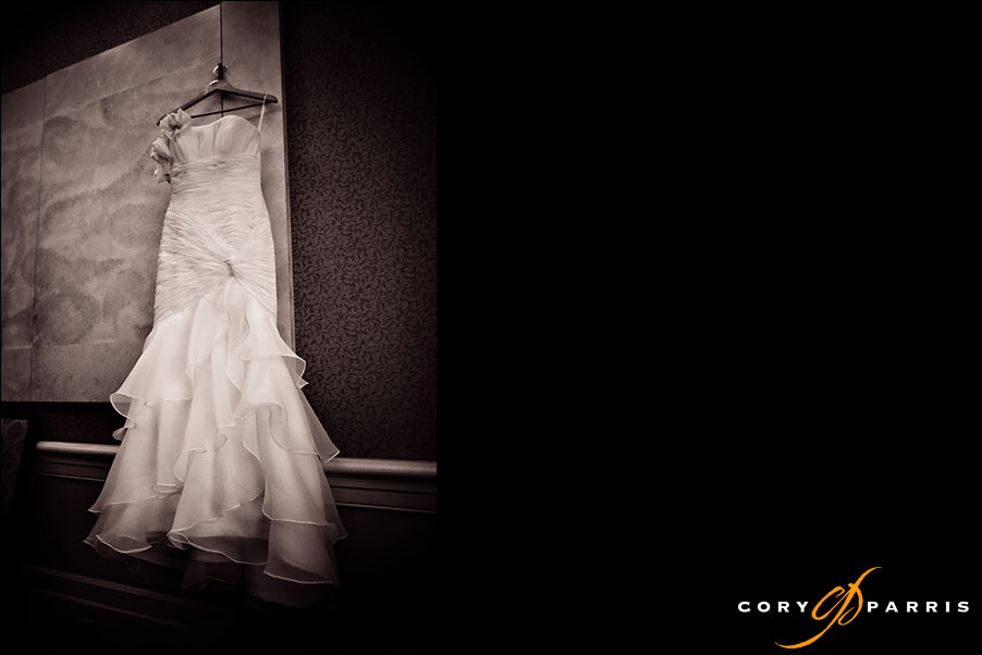 wedding dress on a hanger by seattle wedding photographer cory parris