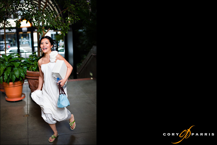 bride running into reception by seattle wedding photographer cory parris