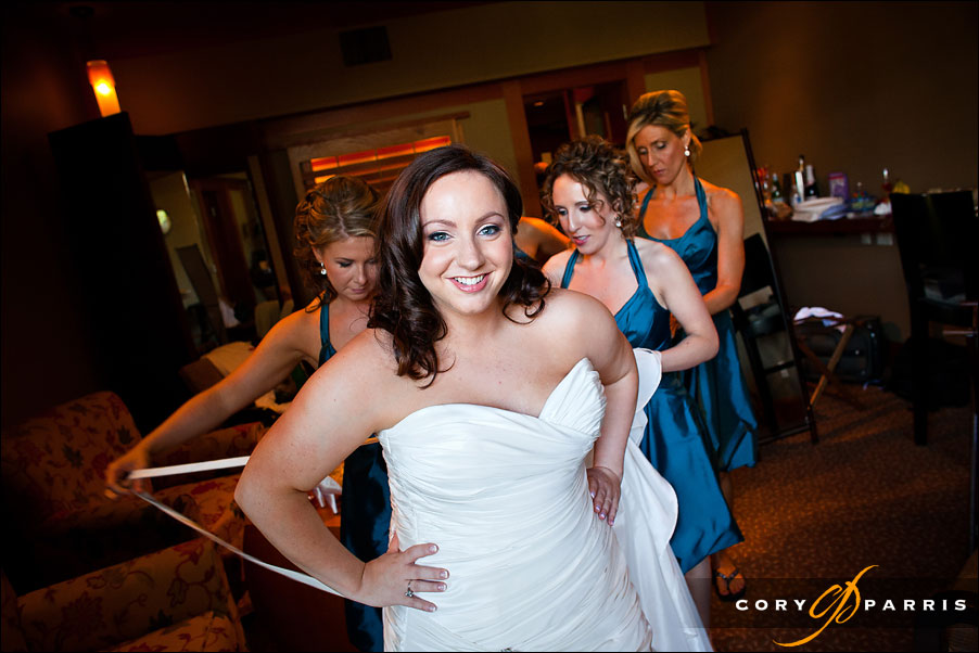 bride getting ready with her bridesmaids - wedding photojournalism in woodinville