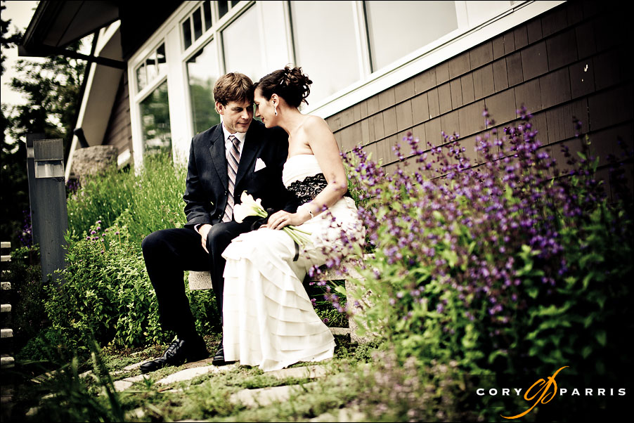 portrait of a wedding couple in a garden at Salish lodge
