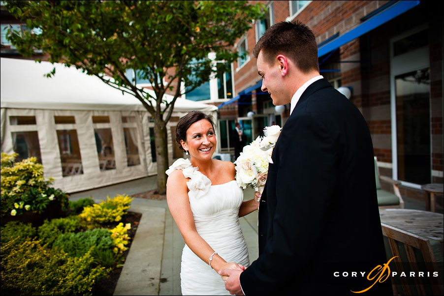 bride and groom first look by seattle wedding photographer cory parris