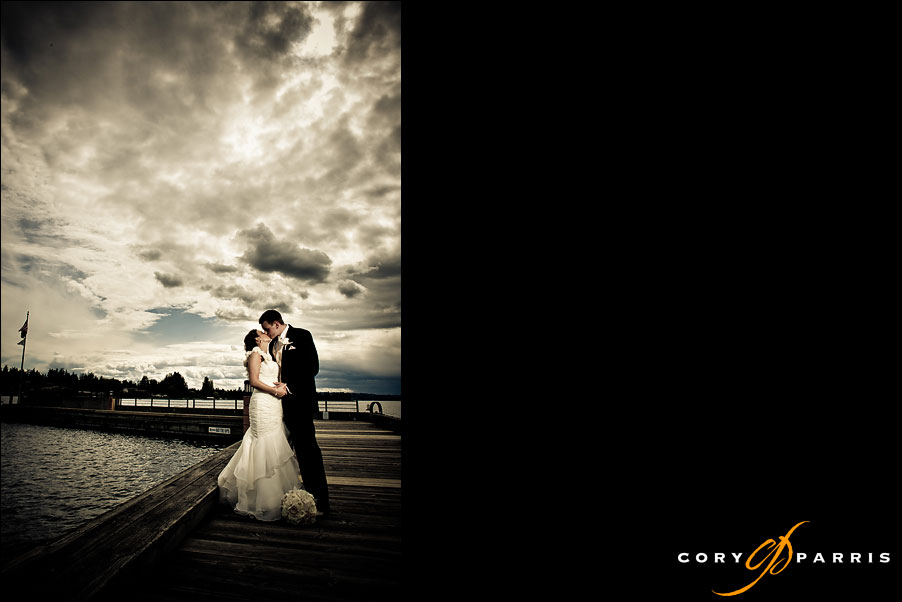 dramatic portrait of a bride and groom on a dock on lake washington