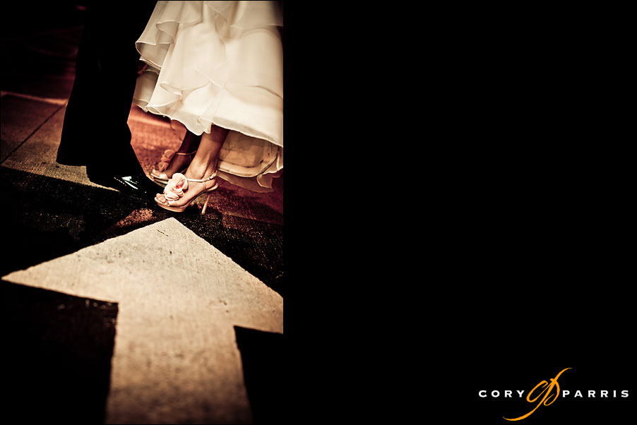 wedding shoes in a parking lot by seattle wedding photographer cory parris
