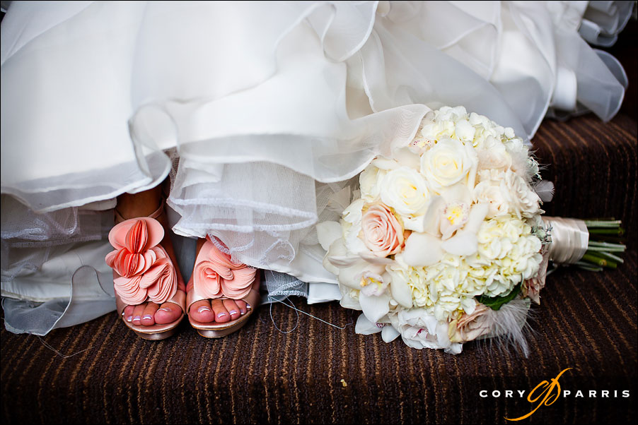 bride's wedding shoes and flowers by seattle wedding photographer cory parris