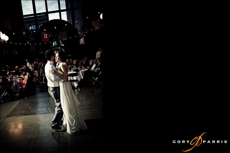bride and groom share the first dance by seattle wedding photographer cory parris