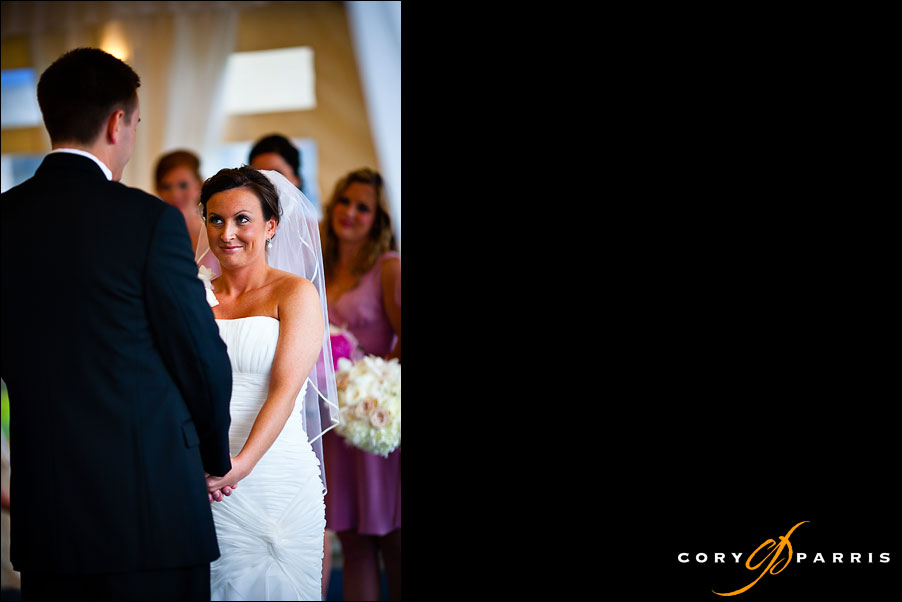 bride looking at groom during wedding ceremony at the woodmark hotel in kirkland