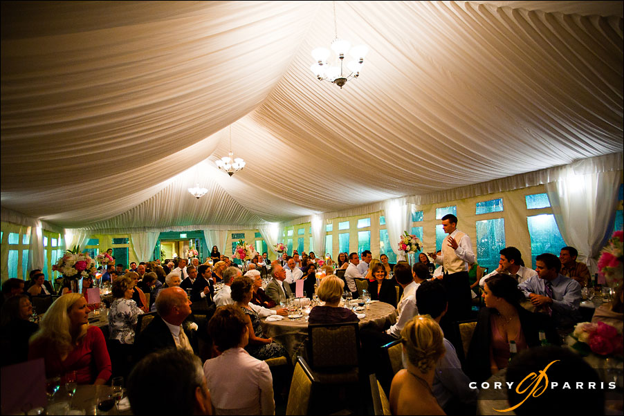 wedding reception in the tent at the woodmark hotel in seattle