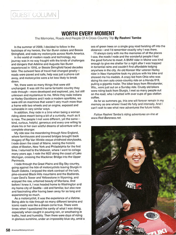 Page of American Motorcyclist Magazine featuring the assignment editorial photograph by seattle photographer cory parris