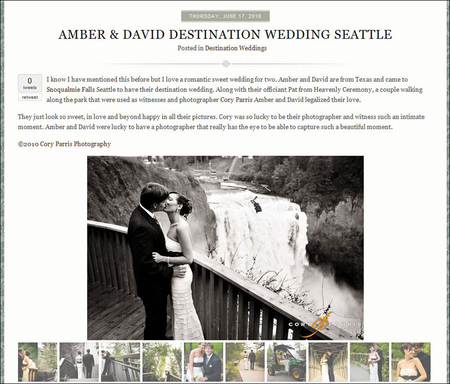 The work of Cory Parris, seattle wedding photographer, as featured on the destination inspirations blog