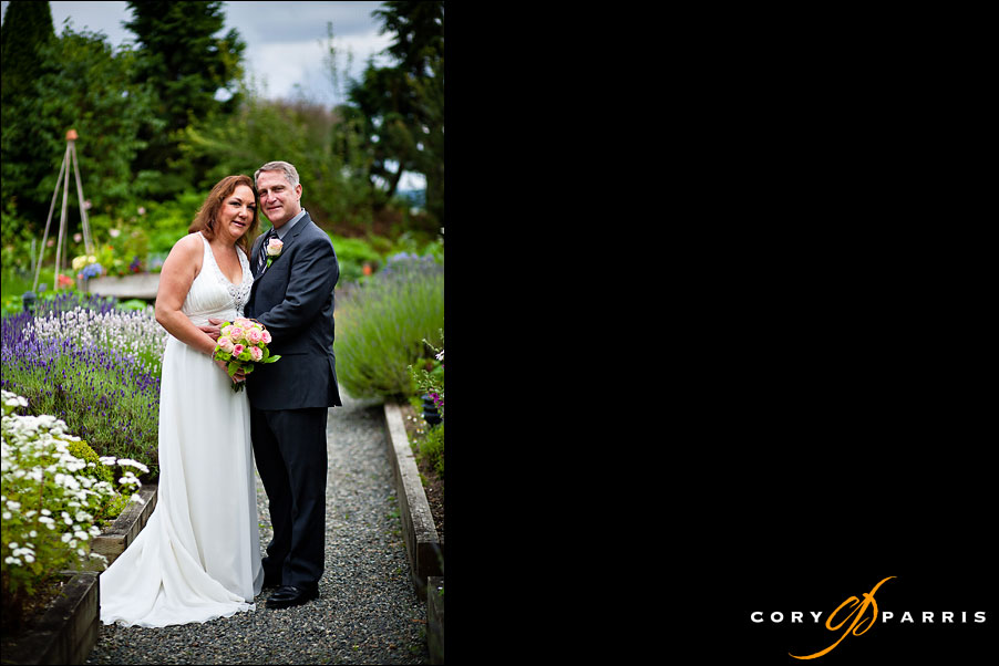 bride and groom in the wedding garden at willows lodge in woodinville