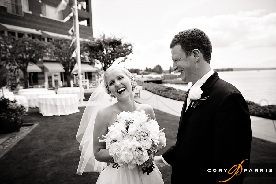 bride laughing during the first site by wedding photojournalist in seattle cory parris