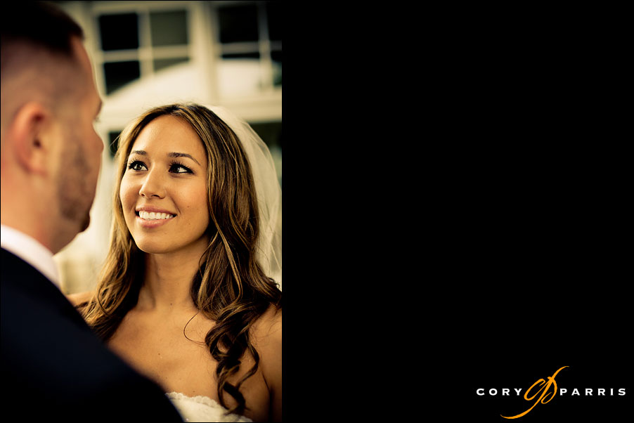 bride looking at groom by seattle wedding photographer cory parris