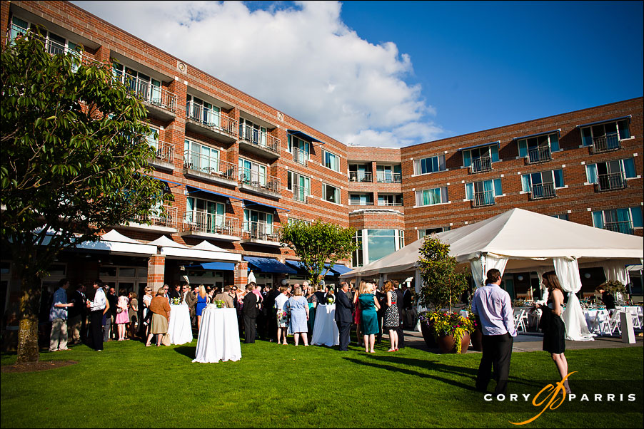 wedding reception cocktail hour on the lawn at the woodmark hotel