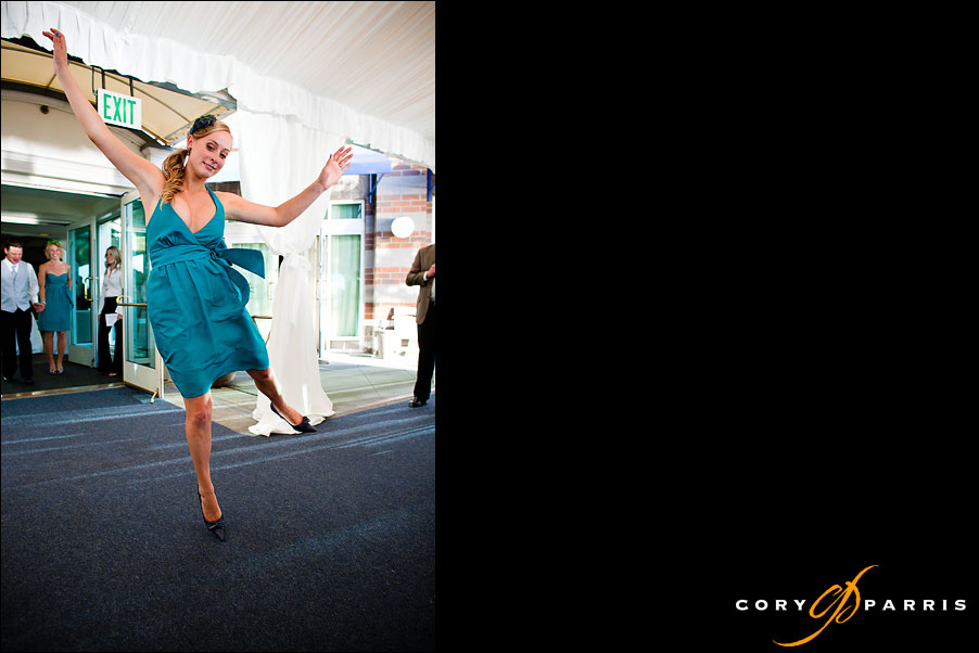 bridesmaid dancing into the reception by seattle wedding photojournalist cory parris