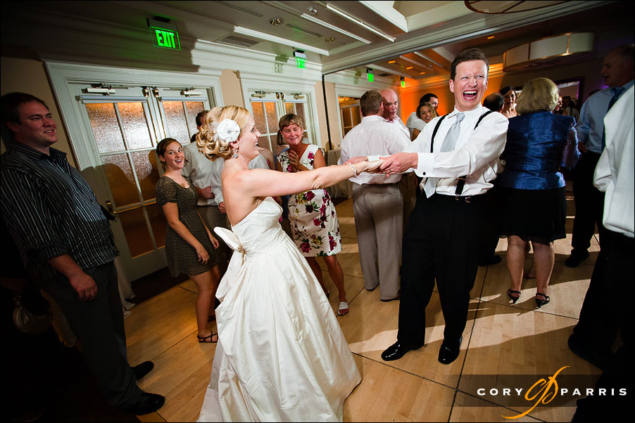 bride and groom dancing during the wedding reception at woodmark hotel
