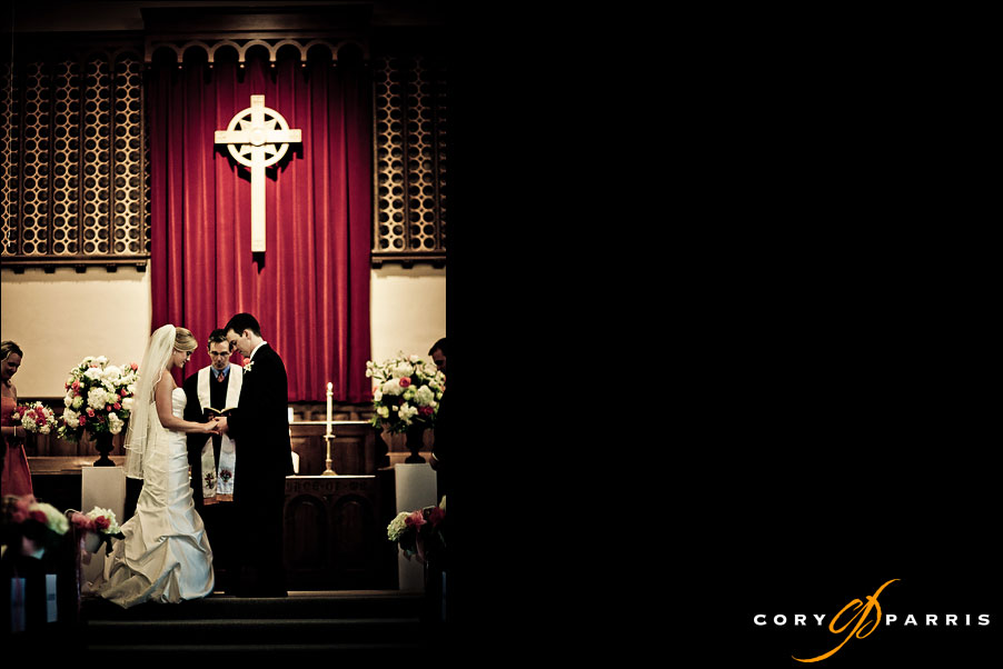 bride and groom praying during wedding ceremony by seattle wedding photojournalist cory parris