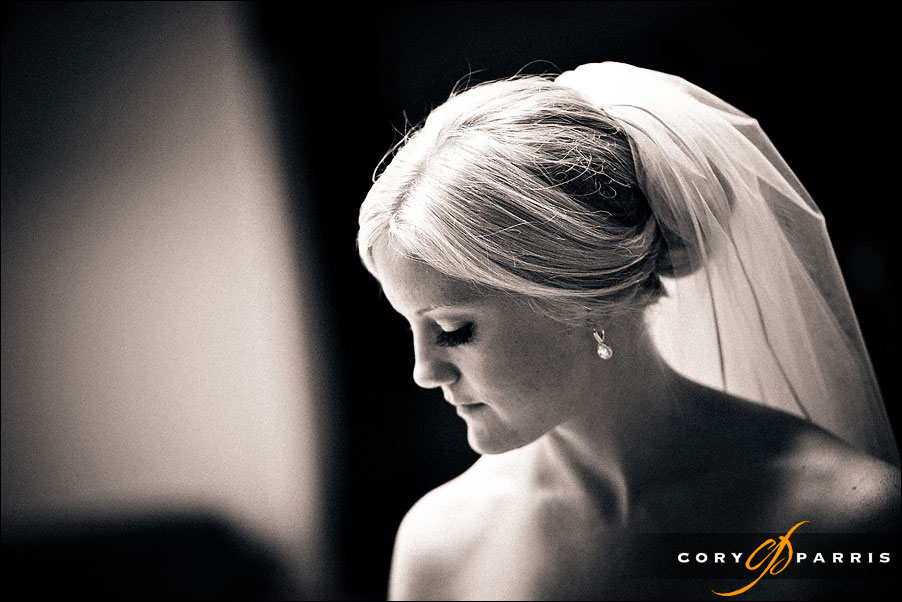 bride looking down by seattle wedding photojournalist cory parris