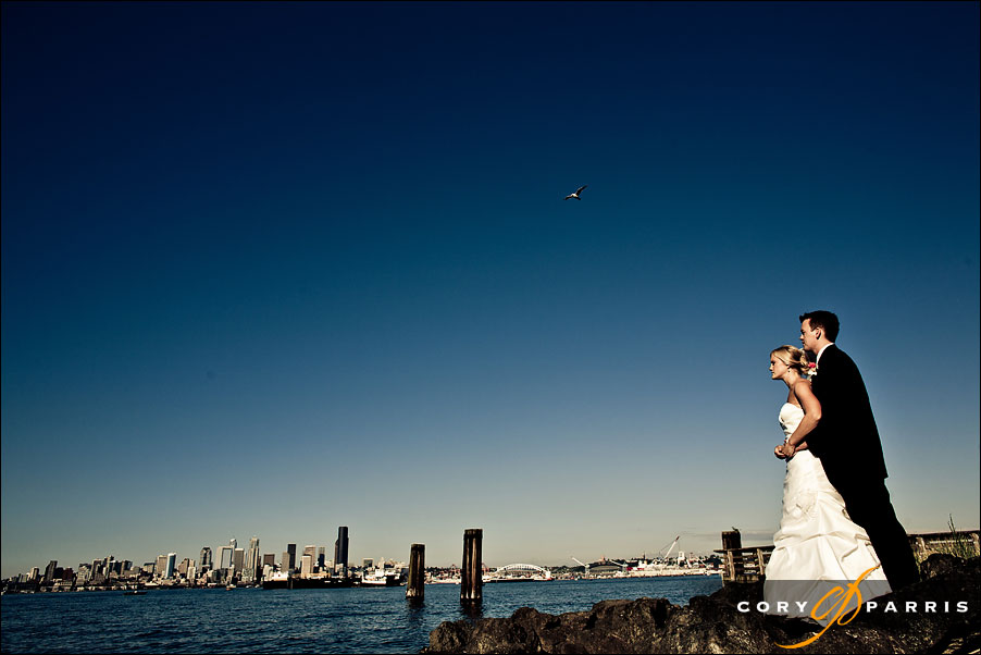 wedding portrait with the seattle skyline by seattle wedding photographer cory parris