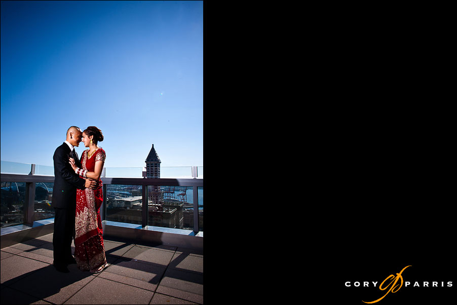 wedding couple on the top of the courthouse by seattle wedding photographer cory parris