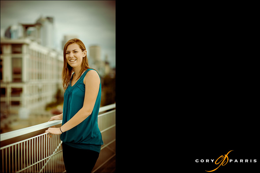 senior girl with city of Seattle in the background by seattle portrait photographer cory parris