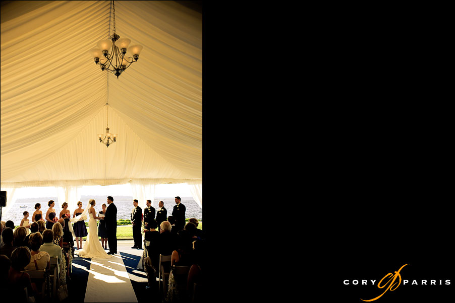 wedding ceremony in tent at woodmark hotel