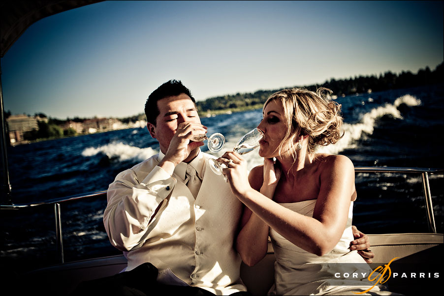 bride and groom on a boat by seattle wedding photojournalist cory parris